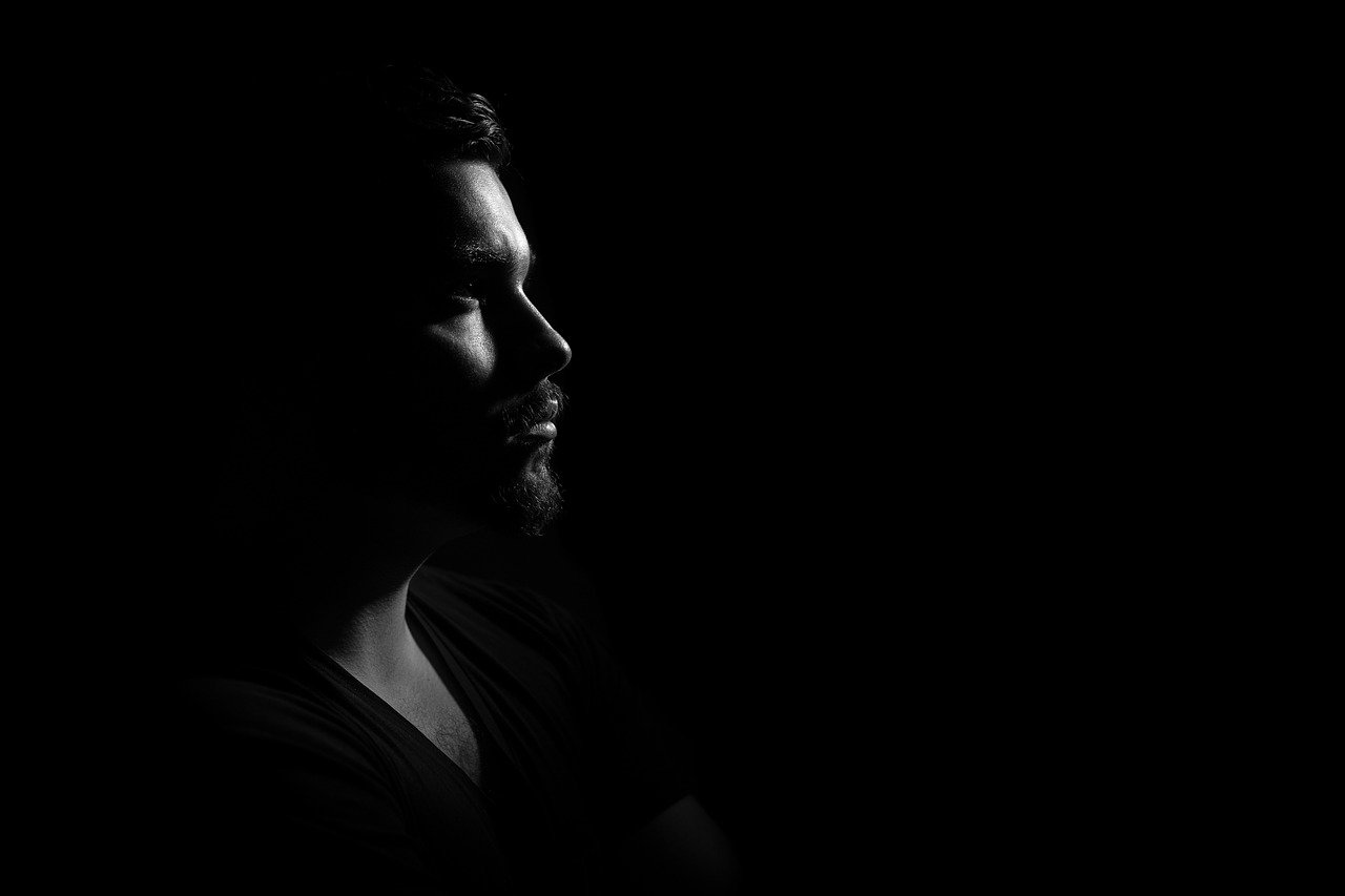 man, portrait, gloomy